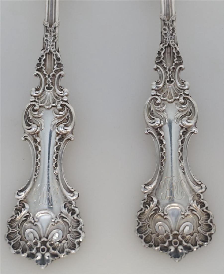 2 WHITING STERLING SILVER POMPADOUR SERVING SPOONS - 2
