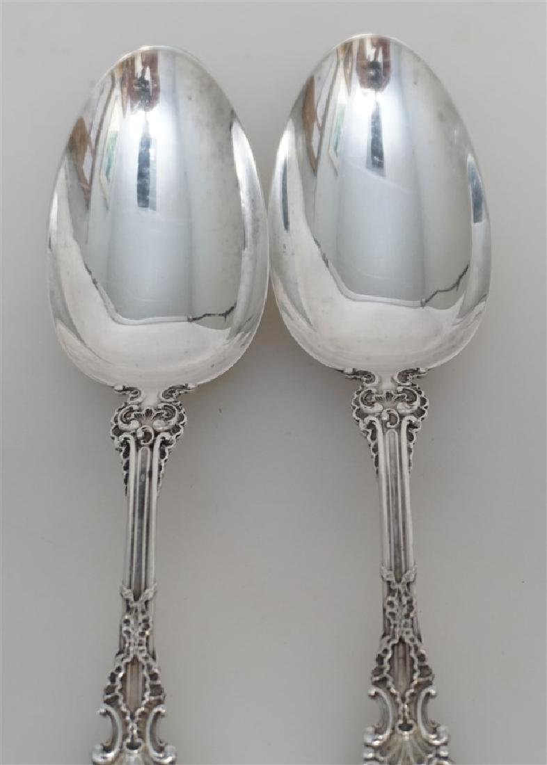 2 WHITING STERLING SILVER POMPADOUR SERVING SPOONS - 3