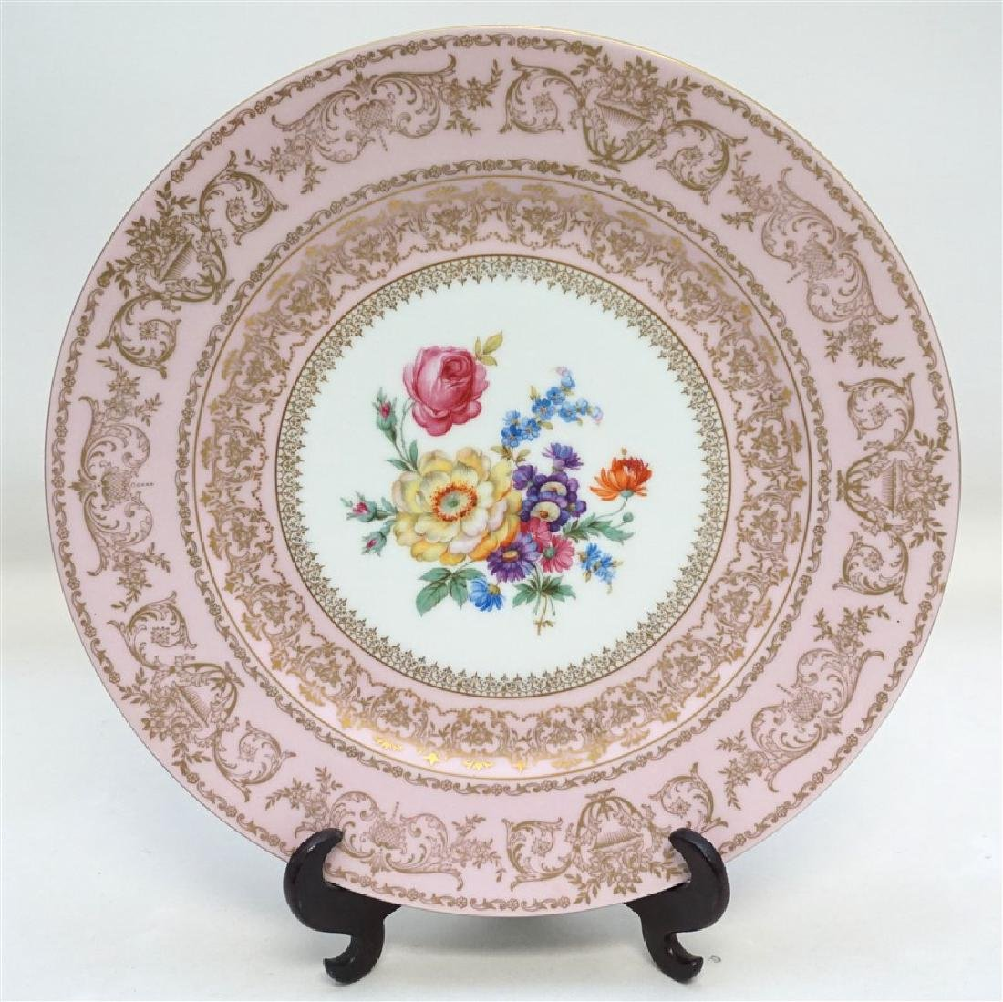 HAND PAINTED FLORAL & PINK PORCELAIN CHARGER