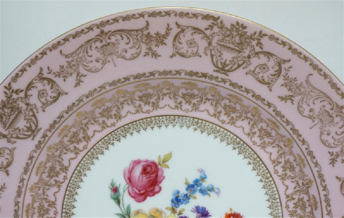 HAND PAINTED FLORAL & PINK PORCELAIN CHARGER - 2
