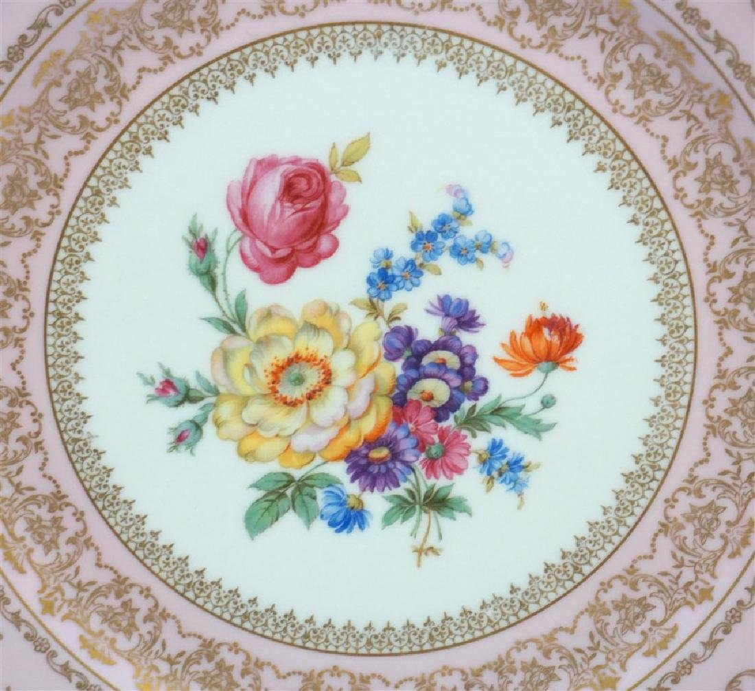 HAND PAINTED FLORAL & PINK PORCELAIN CHARGER - 3