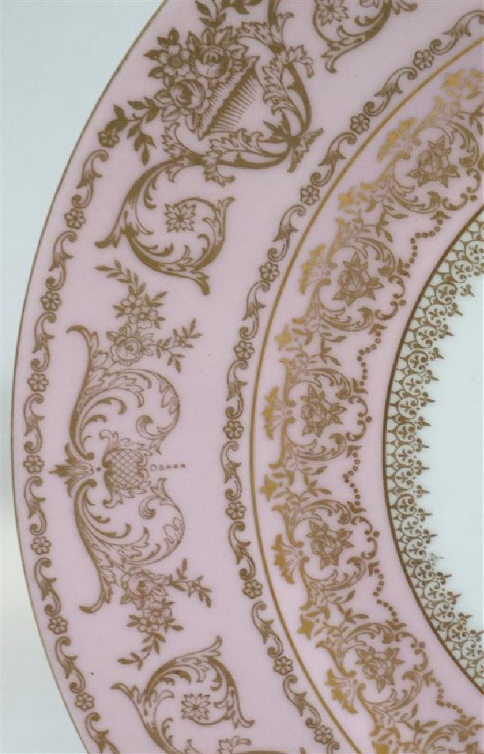 HAND PAINTED FLORAL & PINK PORCELAIN CHARGER - 4