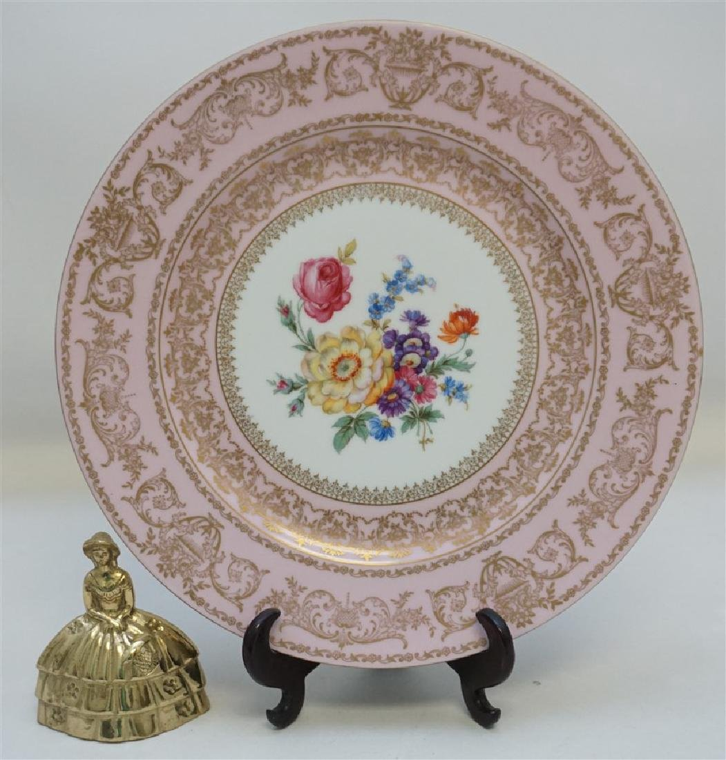 HAND PAINTED FLORAL & PINK PORCELAIN CHARGER - 6