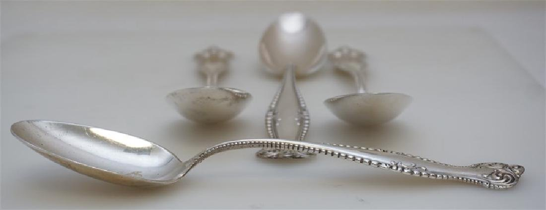 4 STERLING 1893 CANTERBURY SERVING SPOONS TOWLE - 4