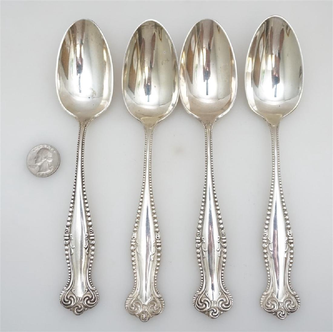 4 STERLING 1893 CANTERBURY SERVING SPOONS TOWLE - 7
