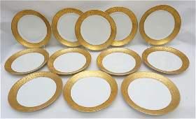 12 SCHUMANN GOLD RIMMED DINNER PLATES
