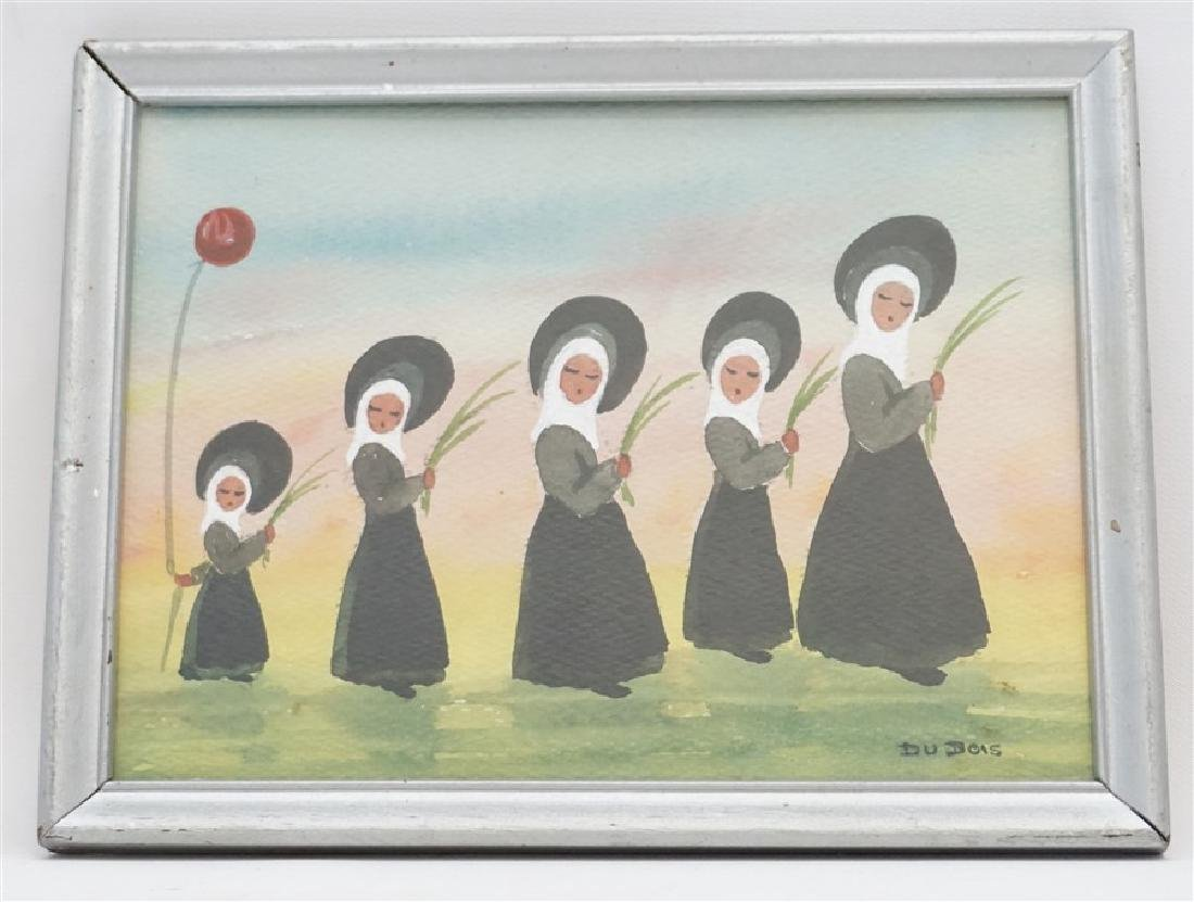 VINTAGE FRENCH NUNS WATERCOLOR - DUBOIS