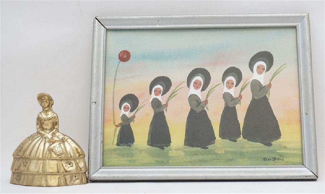 VINTAGE FRENCH NUNS WATERCOLOR - DUBOIS - 5
