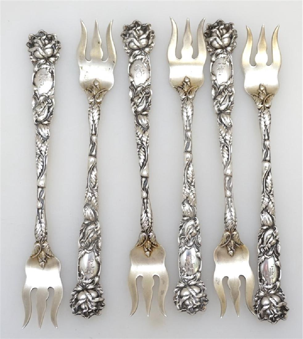 6 STERLING BRIDAL ROSE OYSTER FORKS