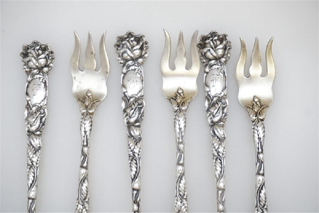 6 STERLING BRIDAL ROSE OYSTER FORKS - 2