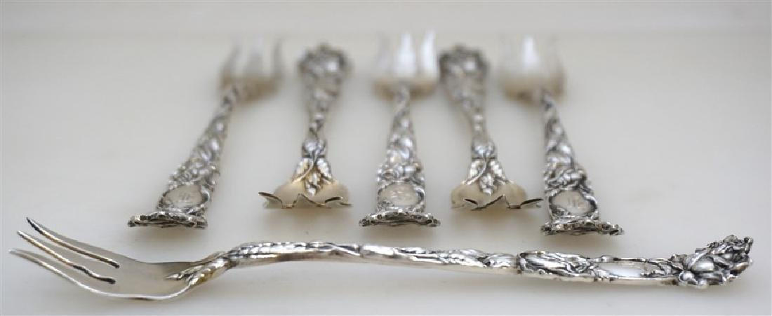 6 STERLING BRIDAL ROSE OYSTER FORKS - 5