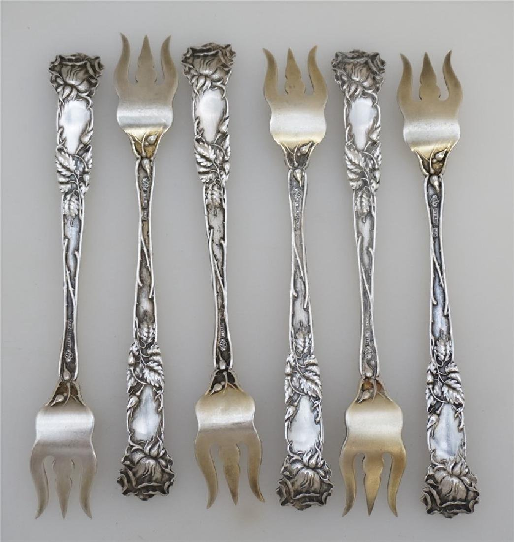 6 STERLING BRIDAL ROSE OYSTER FORKS - 6