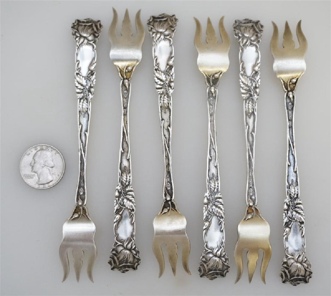 6 STERLING BRIDAL ROSE OYSTER FORKS - 7