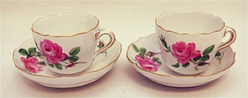 PAIR MEISSEN PINK ROSE DEMITASSE SETS