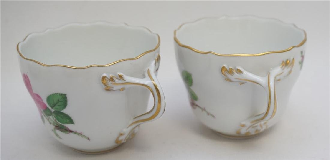 PAIR MEISSEN PINK ROSE DEMITASSE SETS - 2
