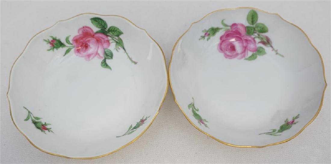 PAIR MEISSEN PINK ROSE DEMITASSE SETS - 3