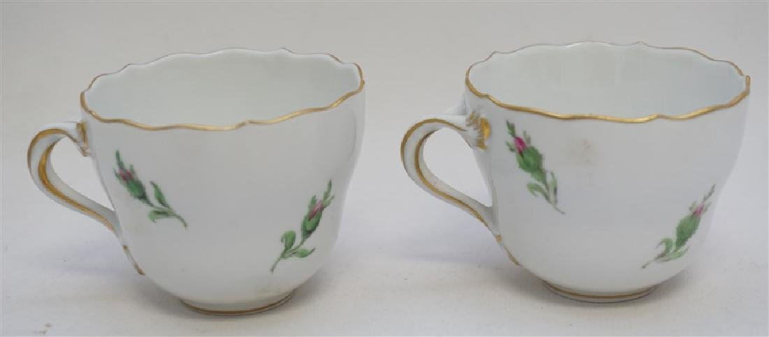 PAIR MEISSEN PINK ROSE DEMITASSE SETS - 4
