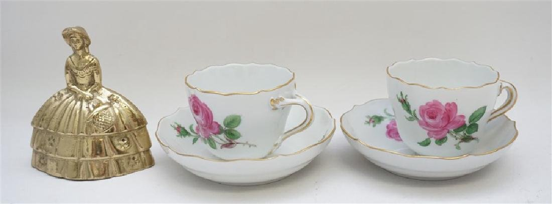 PAIR MEISSEN PINK ROSE DEMITASSE SETS - 6
