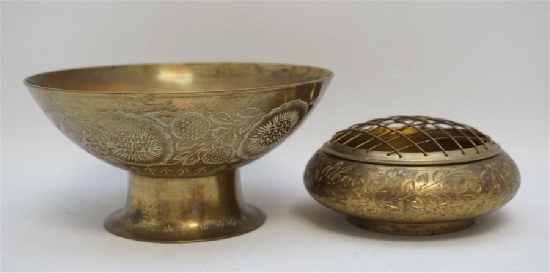 2 VINTAGE BRASS COMPOTE AND BOWL