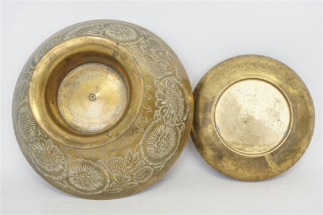 2 VINTAGE BRASS COMPOTE AND BOWL - 6