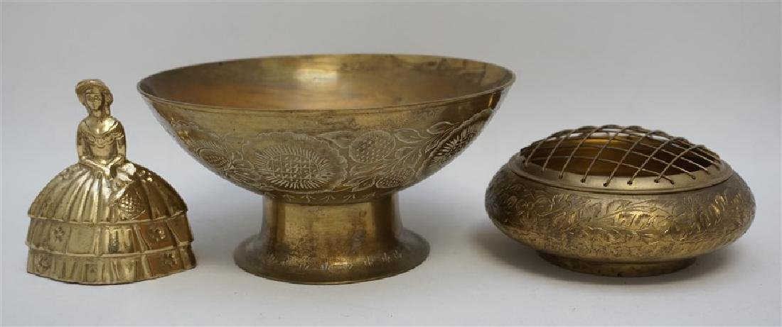 2 VINTAGE BRASS COMPOTE AND BOWL - 9