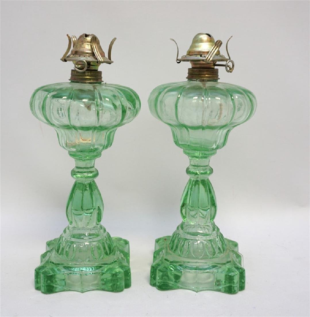 PAIR GREEN 1930s GLASS OIL LAMPS