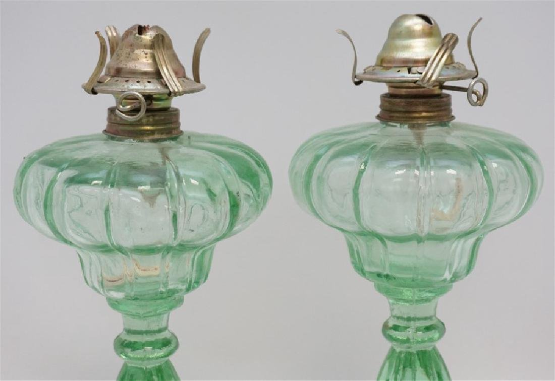 PAIR GREEN 1930s GLASS OIL LAMPS - 2