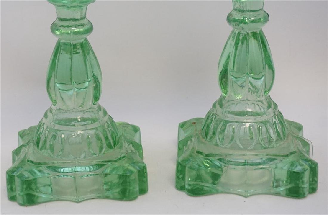 PAIR GREEN 1930s GLASS OIL LAMPS - 3