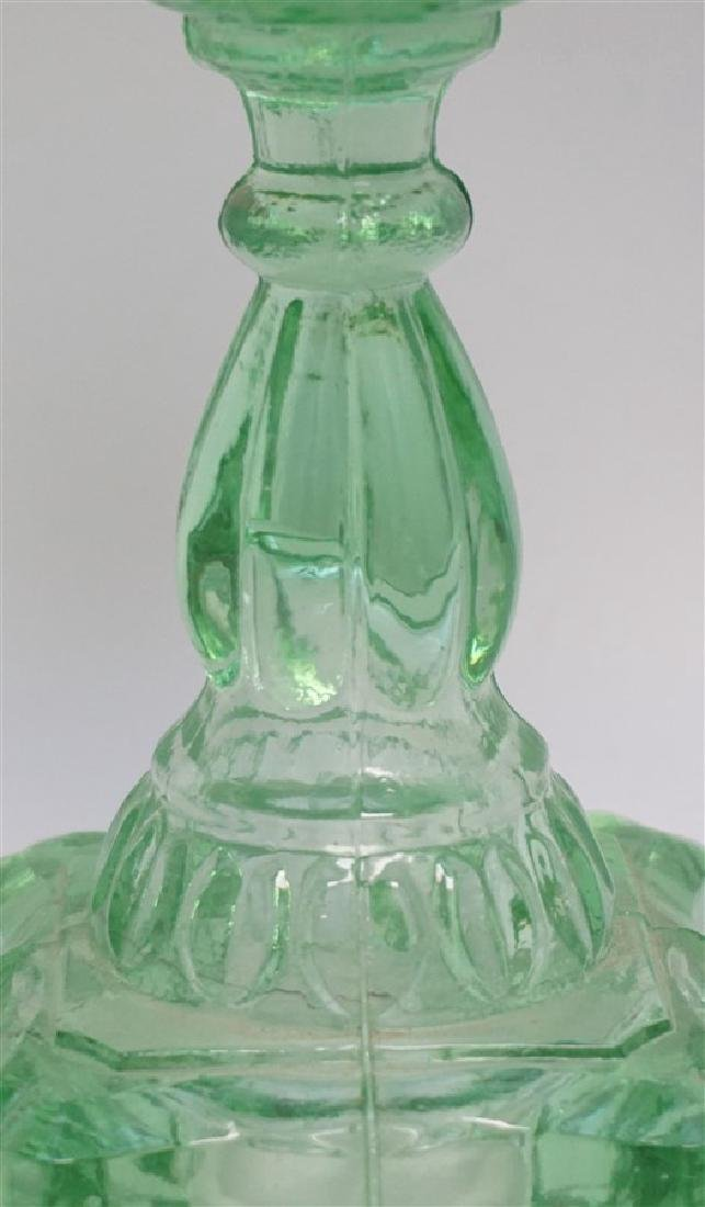 PAIR GREEN 1930s GLASS OIL LAMPS - 4