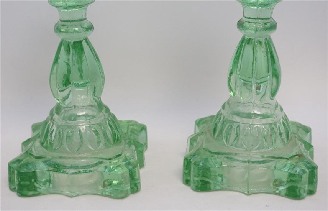 PAIR GREEN 1930s GLASS OIL LAMPS - 5