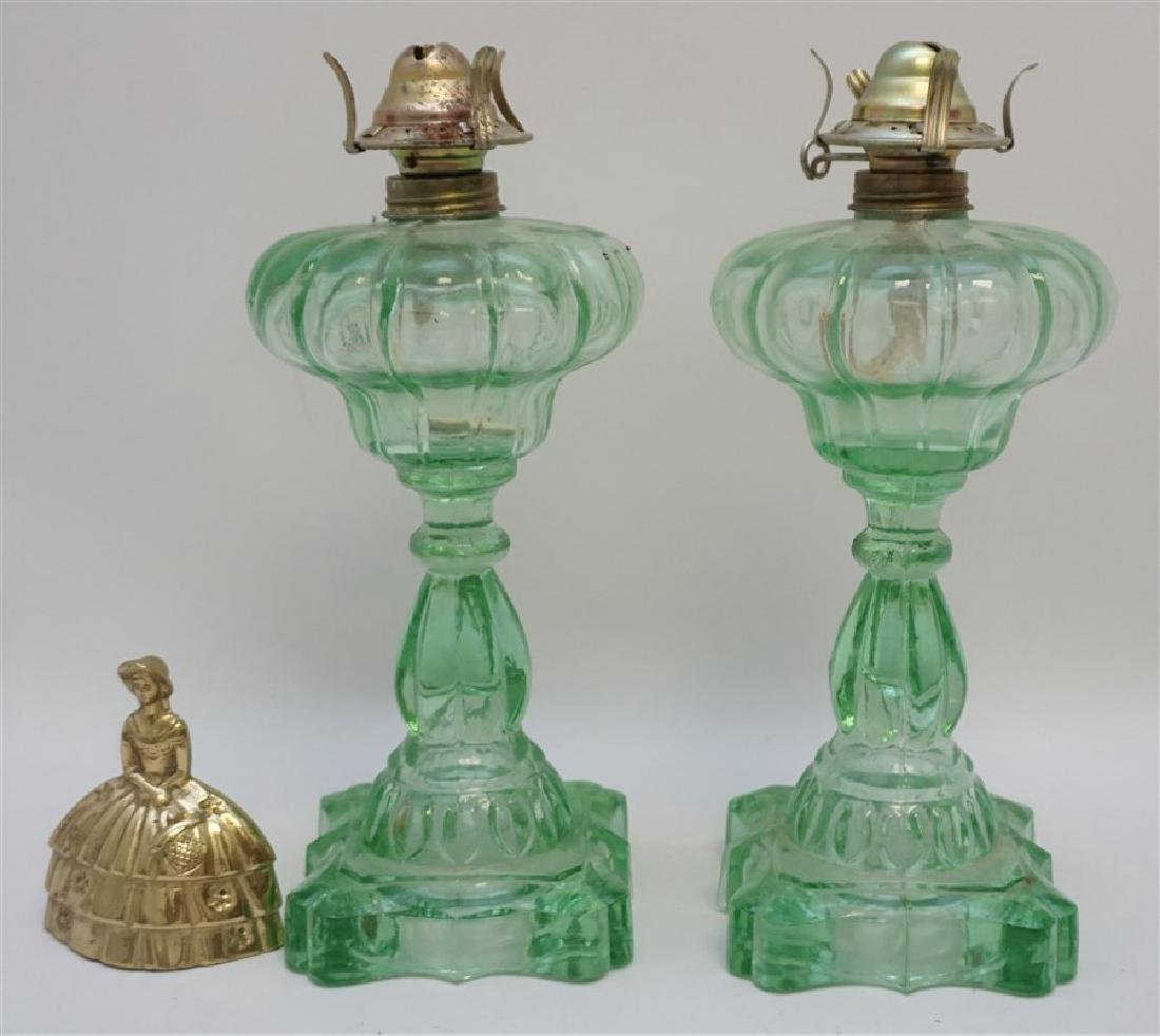 PAIR GREEN 1930s GLASS OIL LAMPS - 6