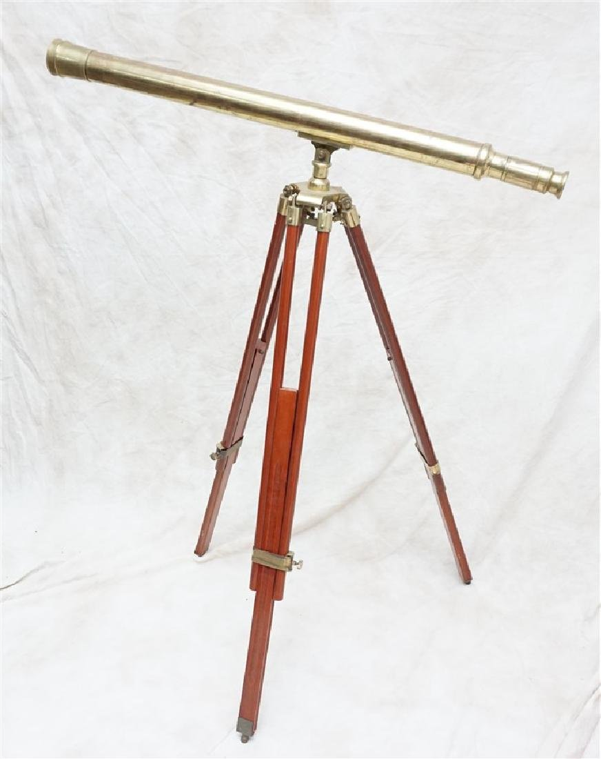 BRASS TELESCOPE ON TRIPOD WOOD STAND