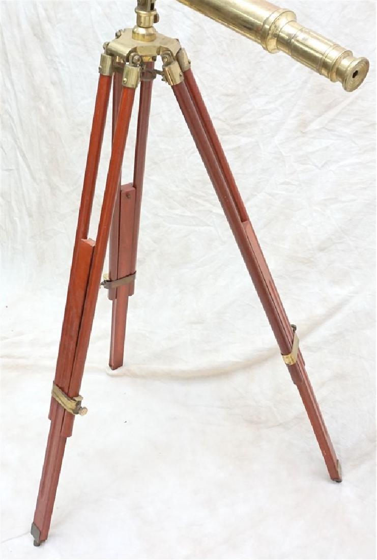 BRASS TELESCOPE ON TRIPOD WOOD STAND - 3