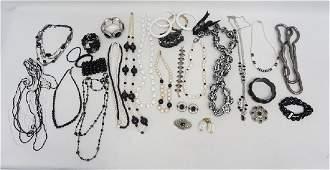 30 pc BLACK & WHITE VTG COSTUME JEWELRY