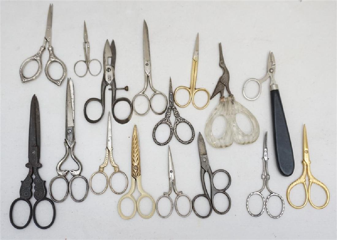 16 ANTIQUE / VINTAGE SCISSORS - STERLING +