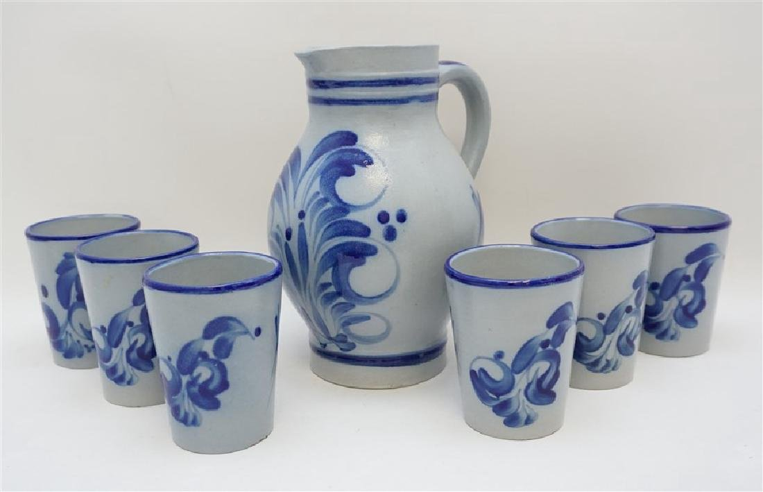7 PC VINTAGE SALT GLAZED STONEWARE PITCHER & CUPS