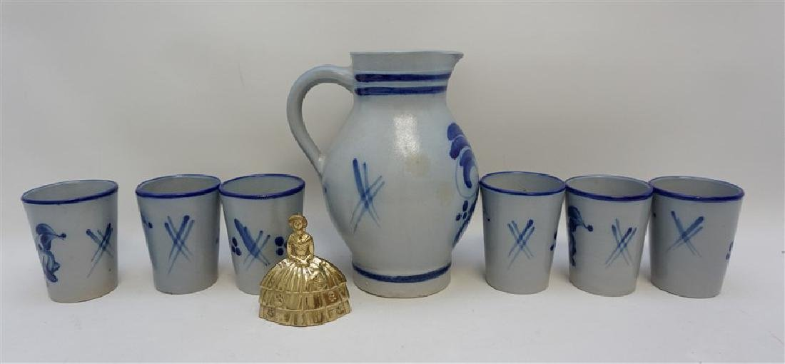 7 PC VINTAGE SALT GLAZED STONEWARE PITCHER & CUPS - 8
