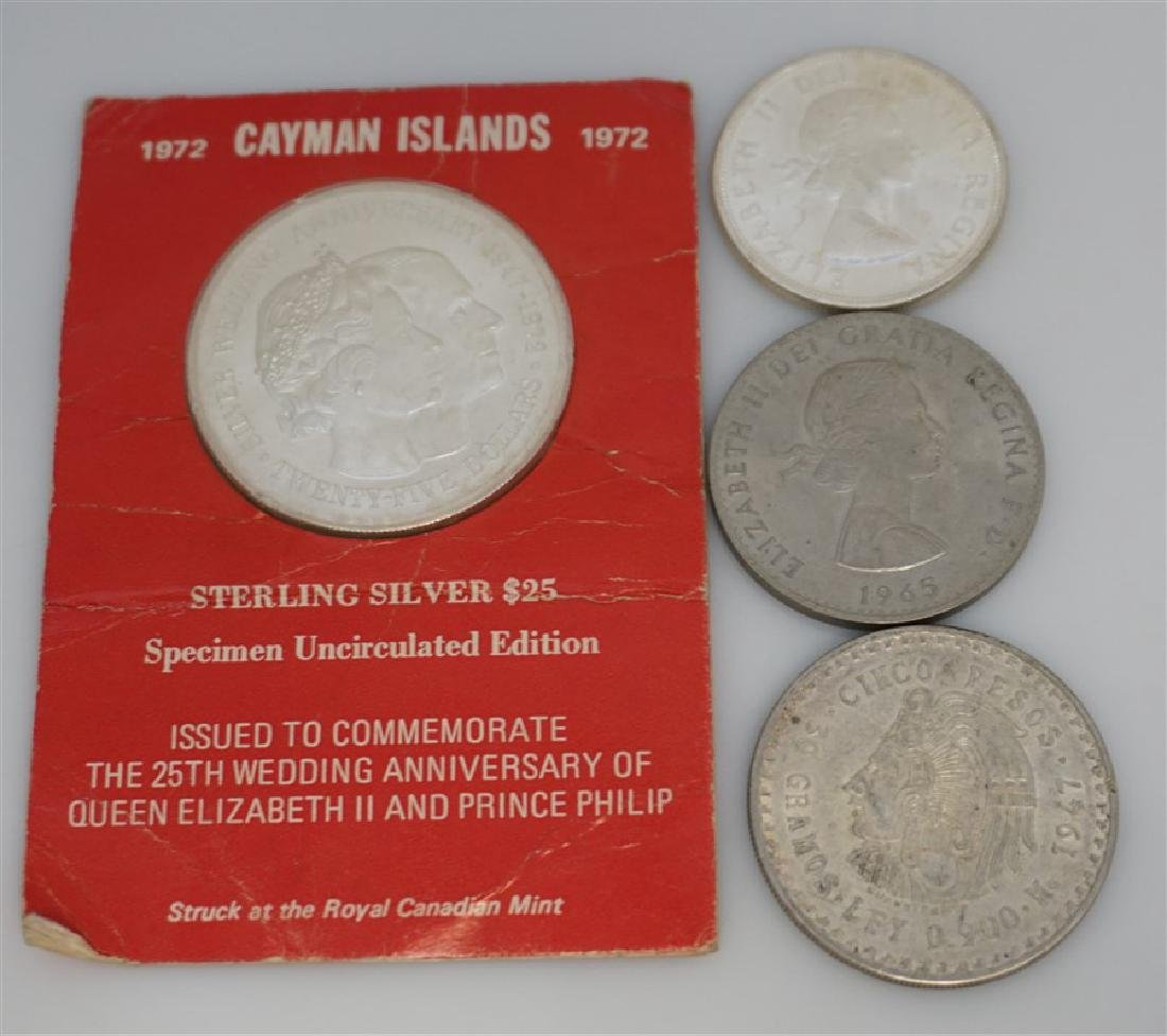 4PC FOREIGN SILVER COINS CAYMAN ISLANDS - ENGLAND