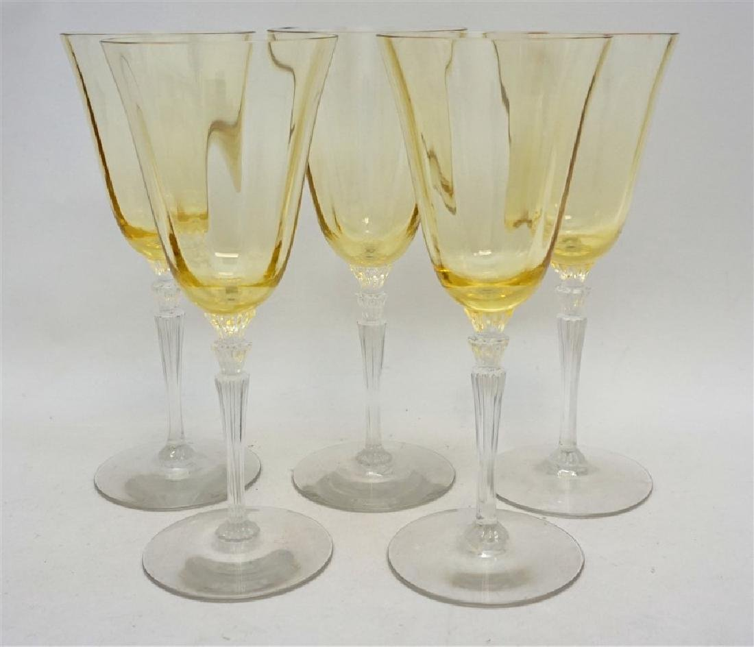 5PC VINTAGE YELLOW PANEL CRYSTAL GLASSES