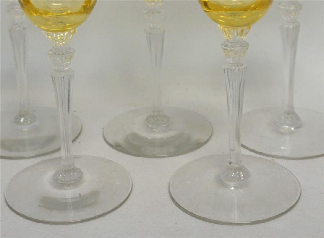 5PC VINTAGE YELLOW PANEL CRYSTAL GLASSES - 2