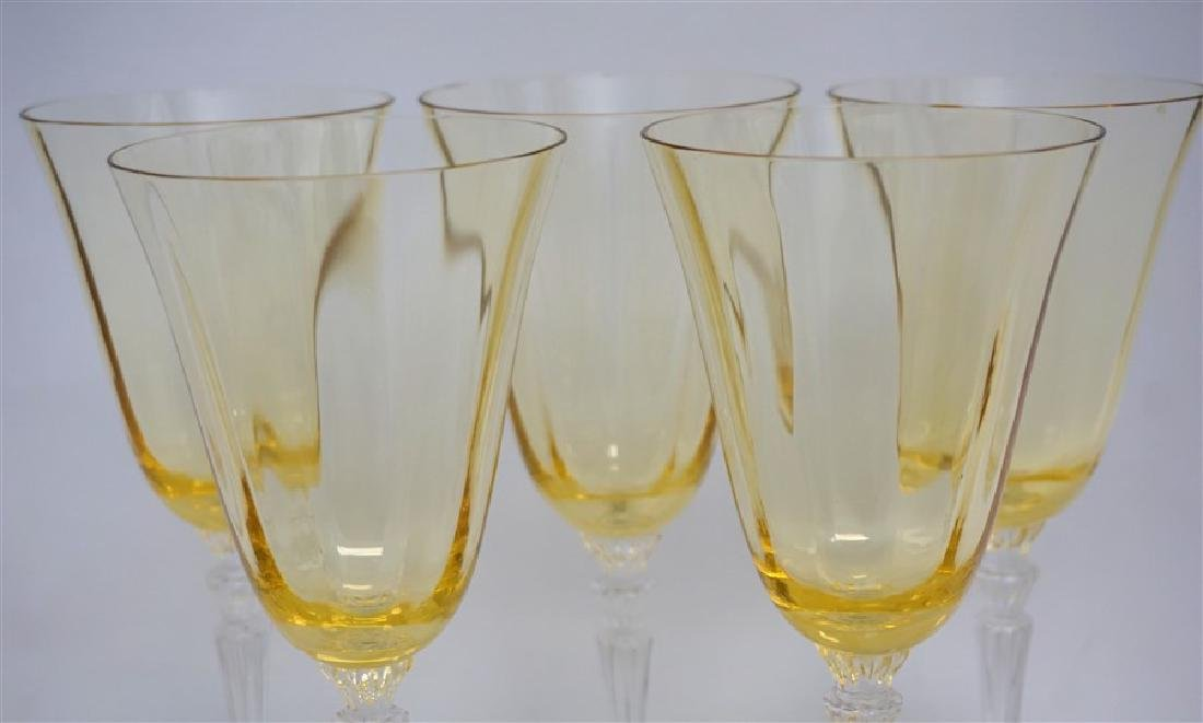 5PC VINTAGE YELLOW PANEL CRYSTAL GLASSES - 4