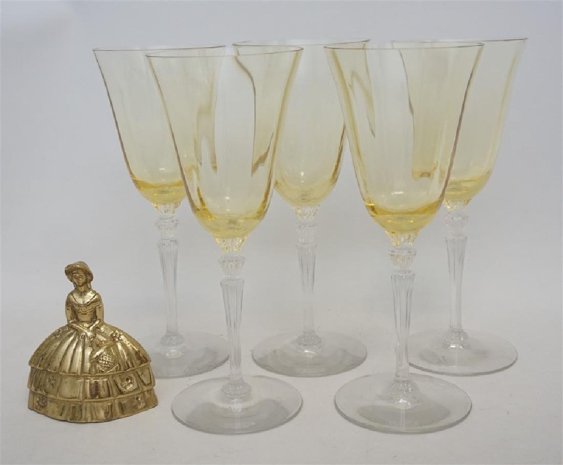 5PC VINTAGE YELLOW PANEL CRYSTAL GLASSES - 7