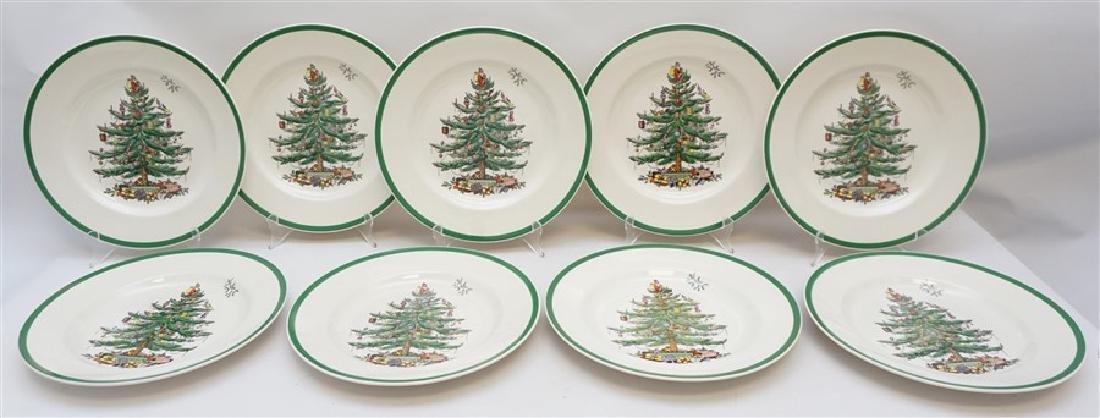 9PC SPODE CHRISTMAS TREE PLATES