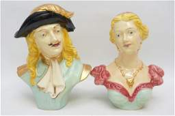 2 1950S CERAMIC POTTERY HAND PAINTED BUSTS