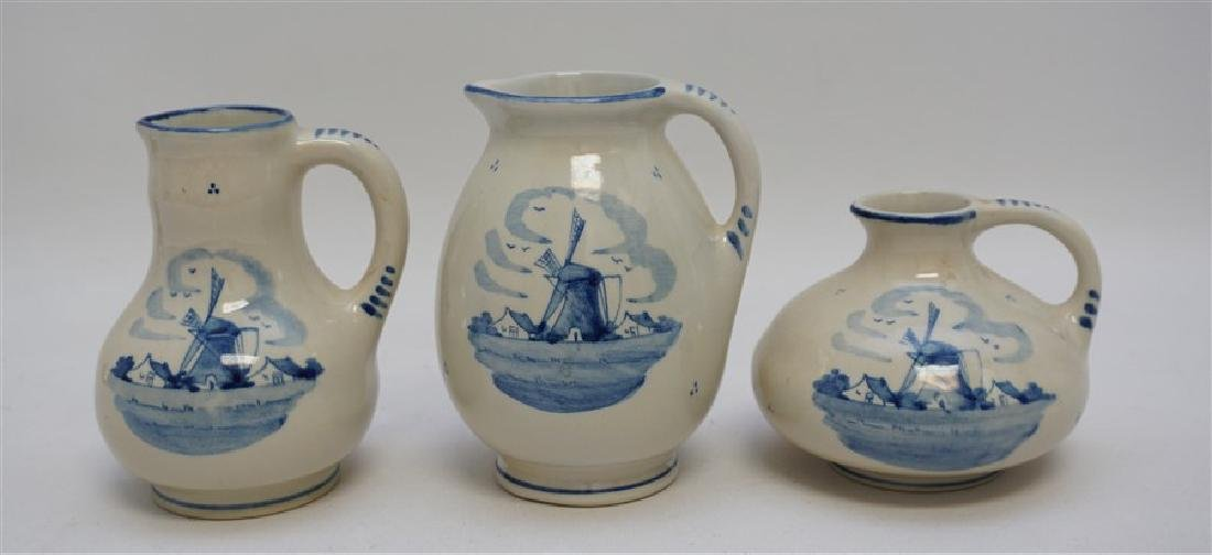 3 ZENITH DELFT POTTERY HOLLAND PITCHERS