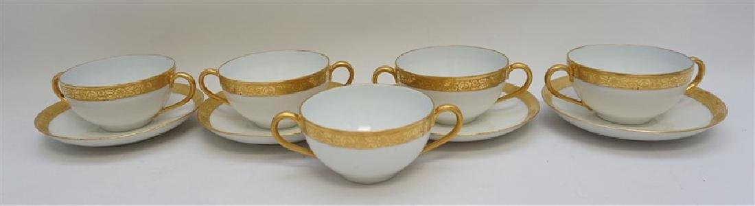 9 PC J & C GOLD RIMMED CREAM SOUPS / SAUCERS