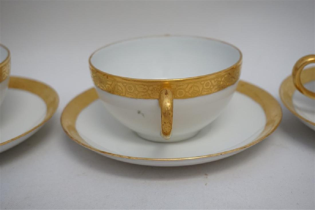9 PC J & C GOLD RIMMED CREAM SOUPS / SAUCERS - 2