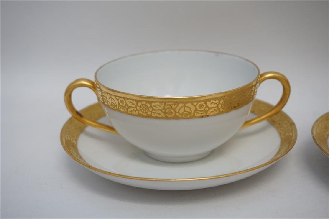 9 PC J & C GOLD RIMMED CREAM SOUPS / SAUCERS - 3