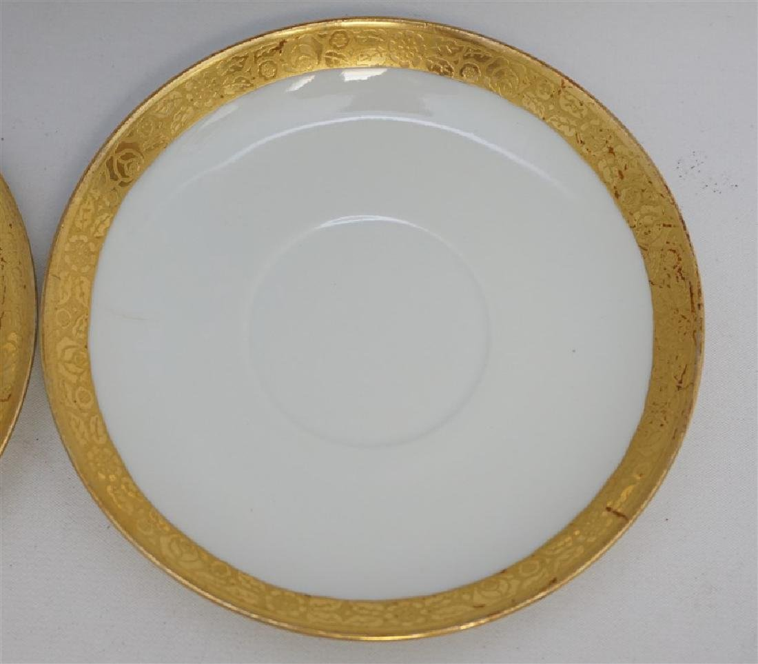 9 PC J & C GOLD RIMMED CREAM SOUPS / SAUCERS - 7