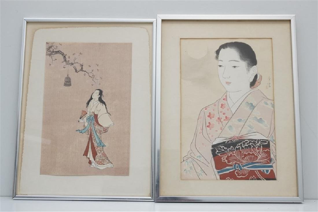 2 JAPANESE GEISHA WOODBLOCKS